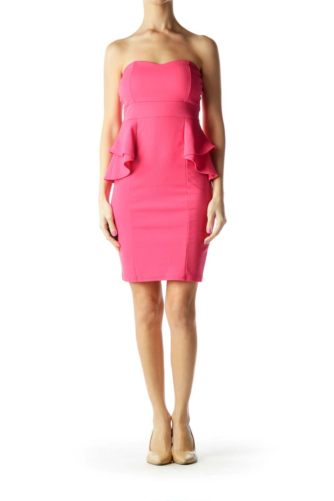 Pink Strapless Peplum Cocktail Dress