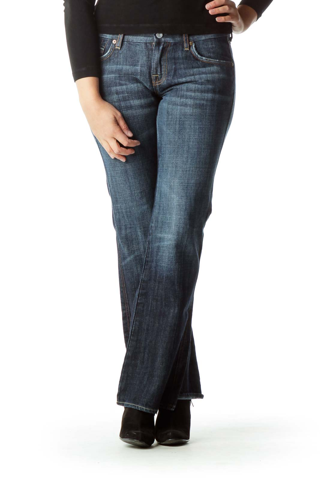 Navy Denim Wide-Leg Jeans