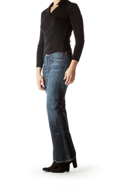 Navy Denim Wide-Leg Jeans