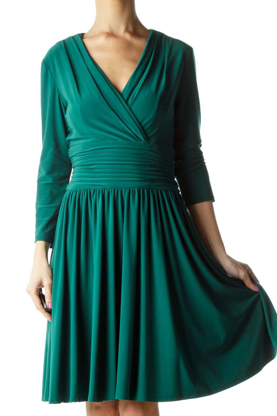 Green Scrunch Waist V-neck Dress