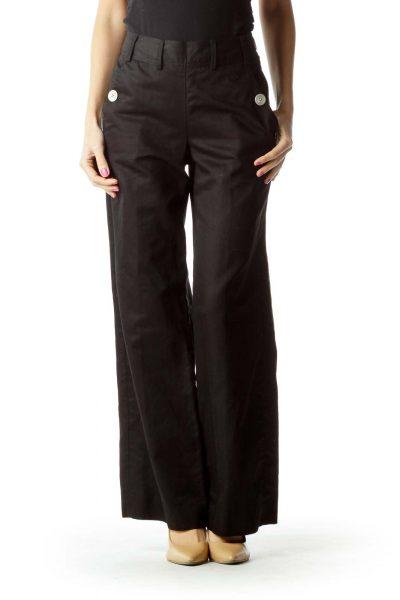 Black Wide-Leg Button Detail Slacks