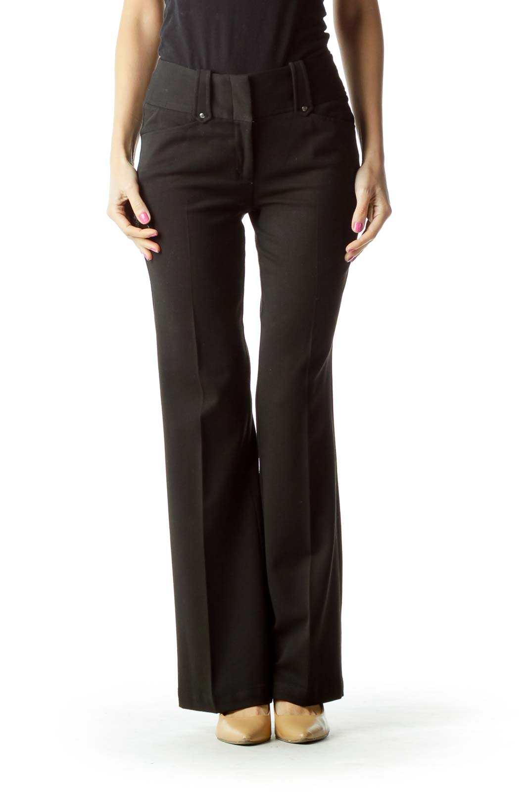 Black Straight-Leg Slacks