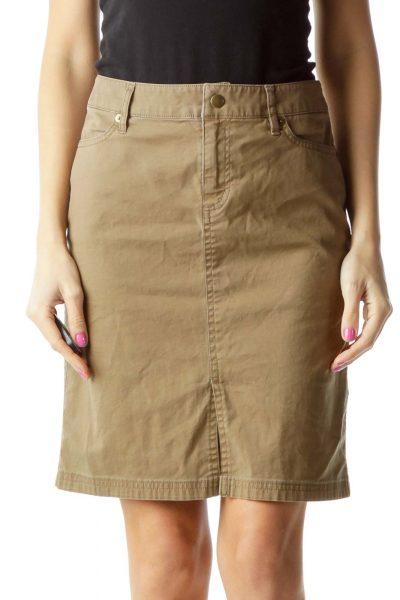 Brown Khaki Pocketed Skirt