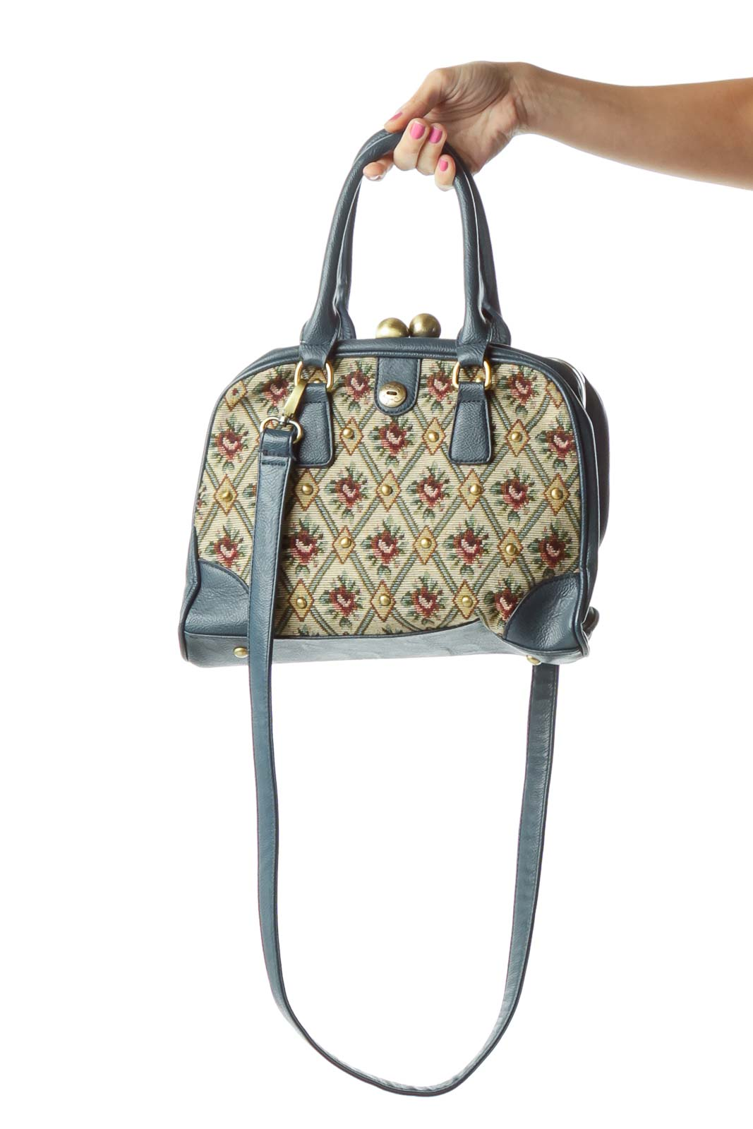 Blue Floral Woven Leather Trim Satchel