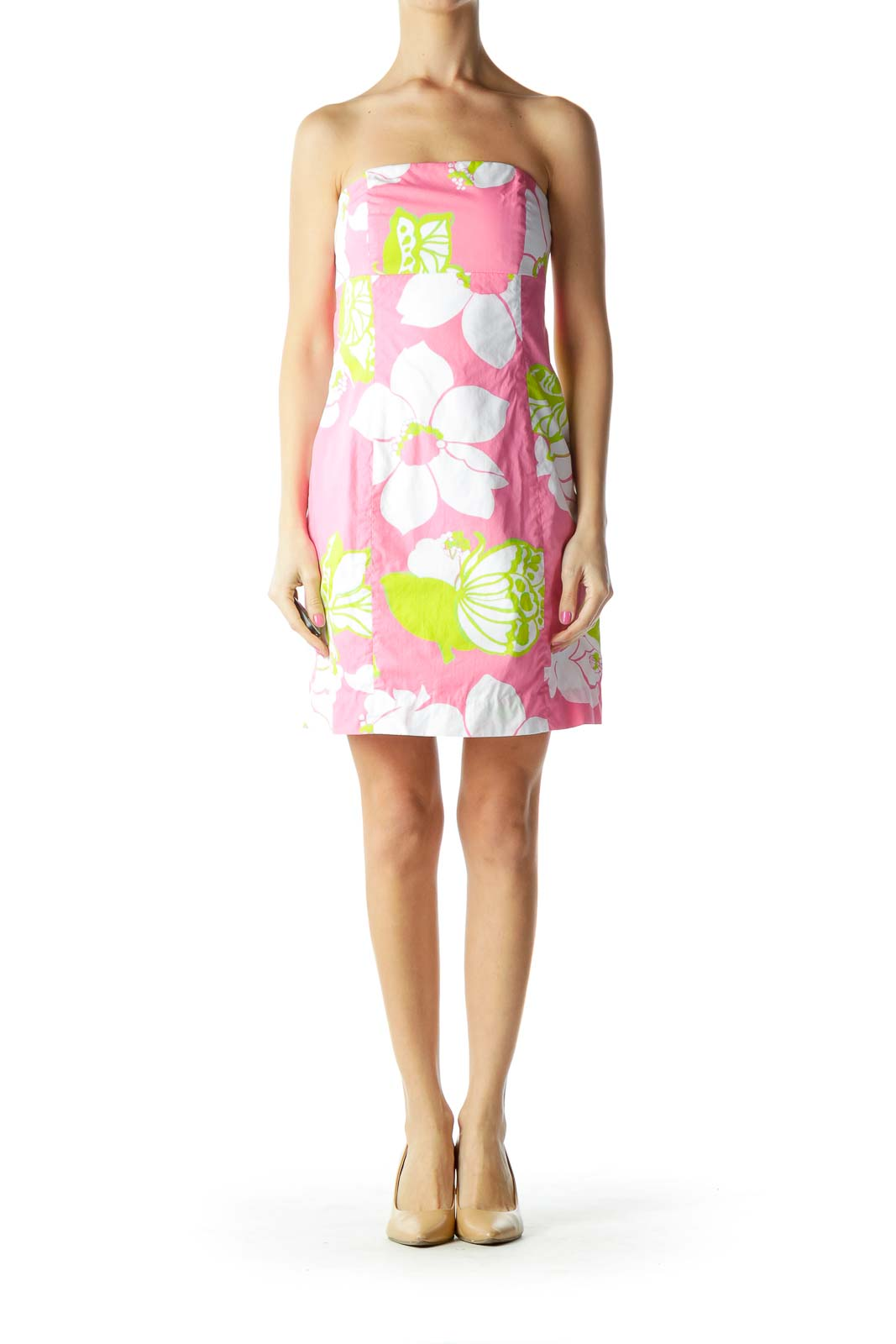 Pink White Strapless Floral Day Dress