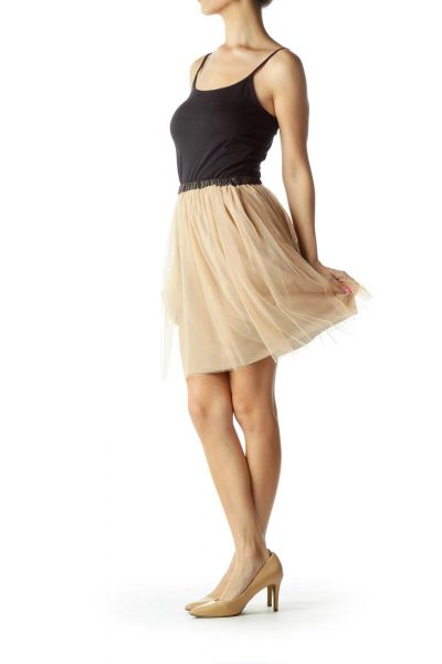 Beige Black Tool Pleated Skirt