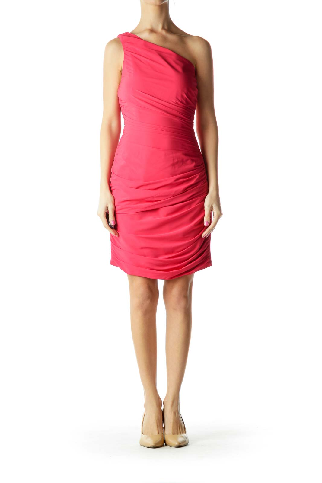 Pink One-Shoulder Scrunched Cocktail Dress