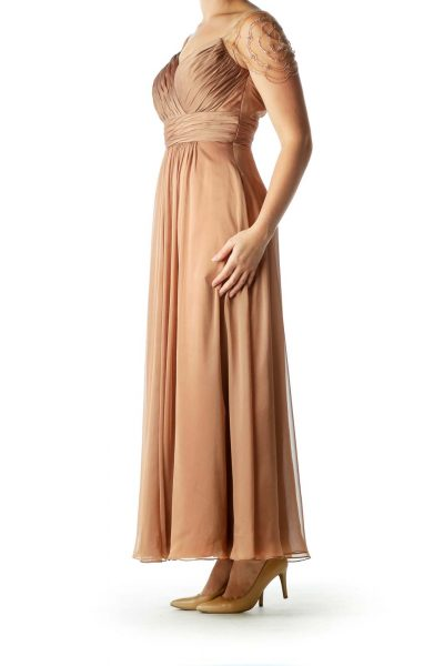 Brown BeadedSweetheart Neck Evening Dress