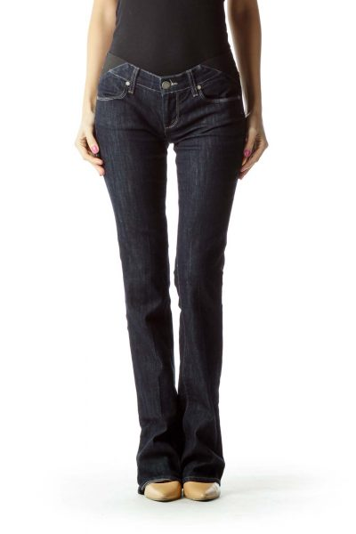 Navy Wide-Leg Jeans with Band Detail
