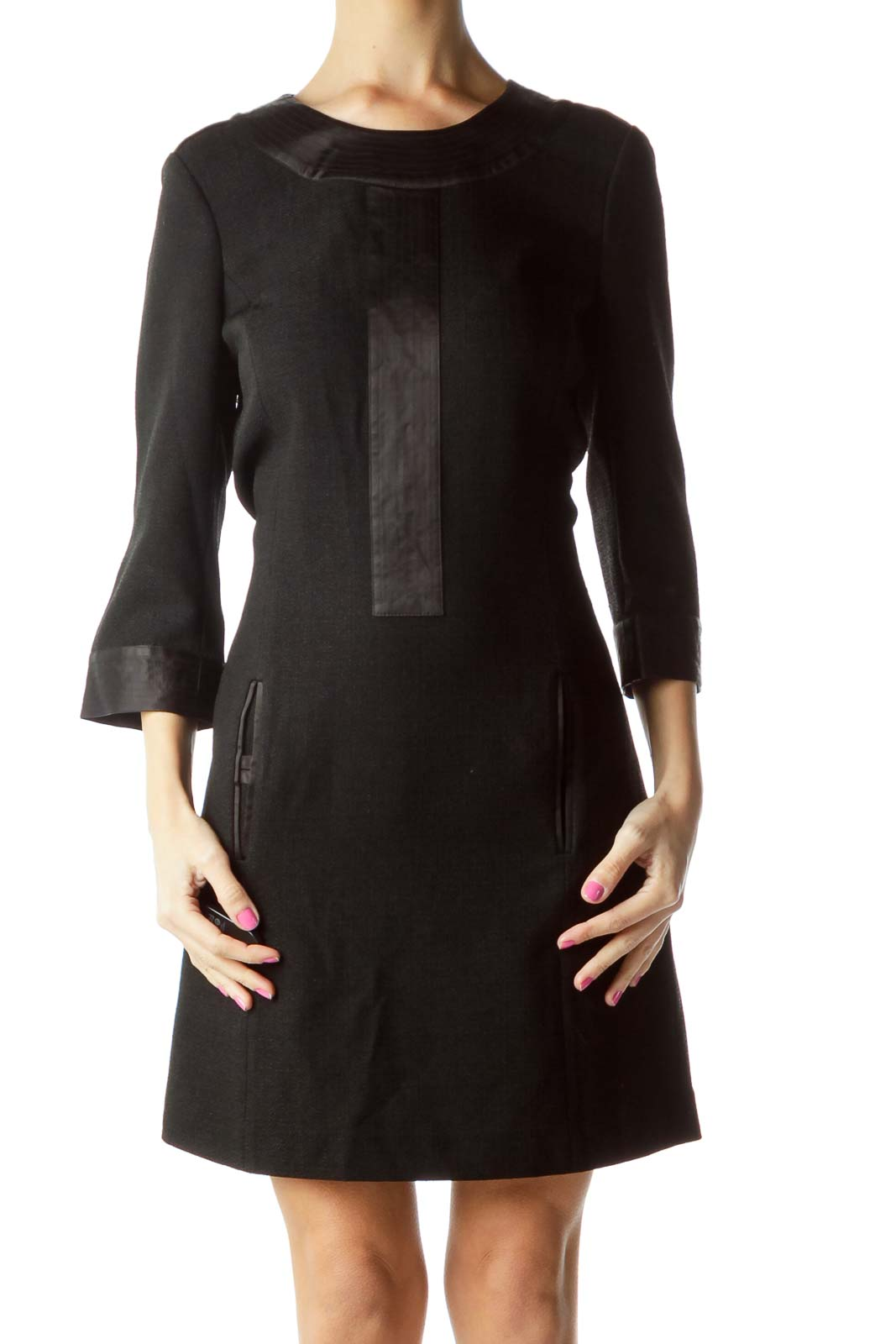 Black 3/4 Sleeve Shift Work Dress