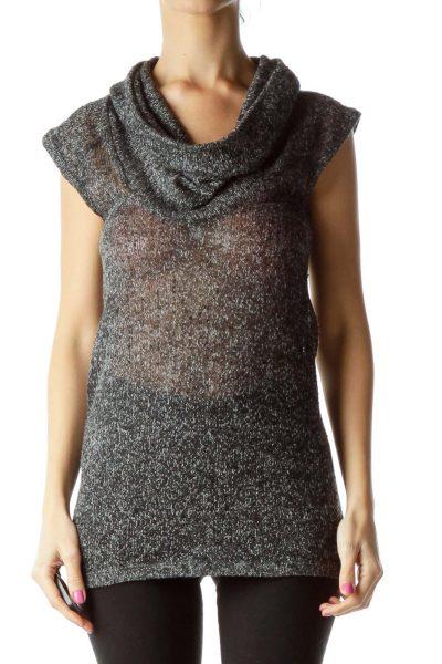 Black White Mottled Sleeveless Cowl Neck Knit