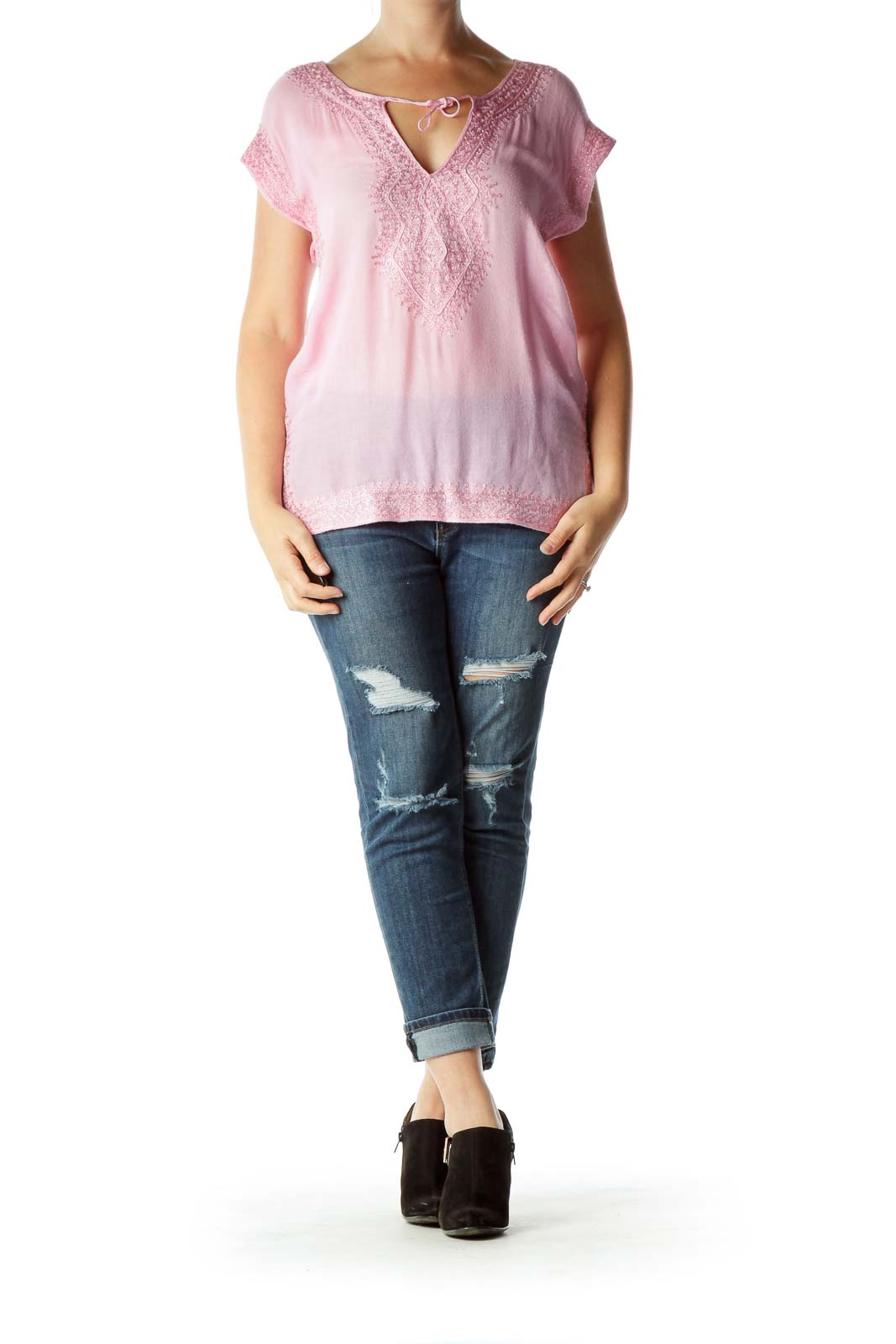 Pink Silver Embroidered Sleeveless Blouse