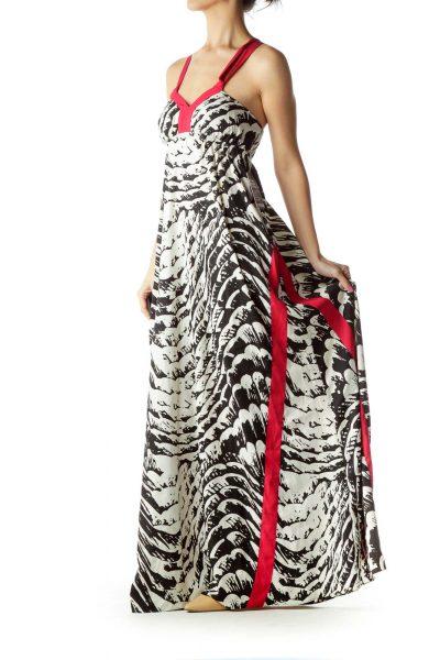 White Black Printed Maxi Dress