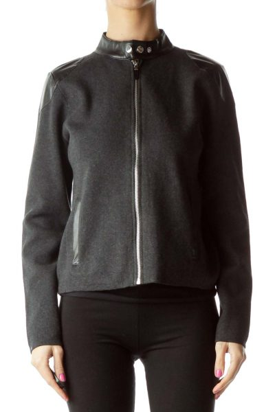 Gray Knit Jacket with Faux-Leather