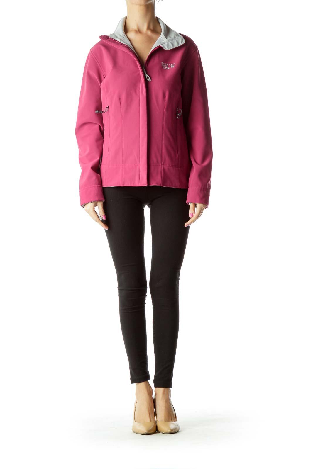 Purple Gray Outerwear Jacket