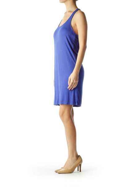 Blue Ribbed Racerback Day Dress