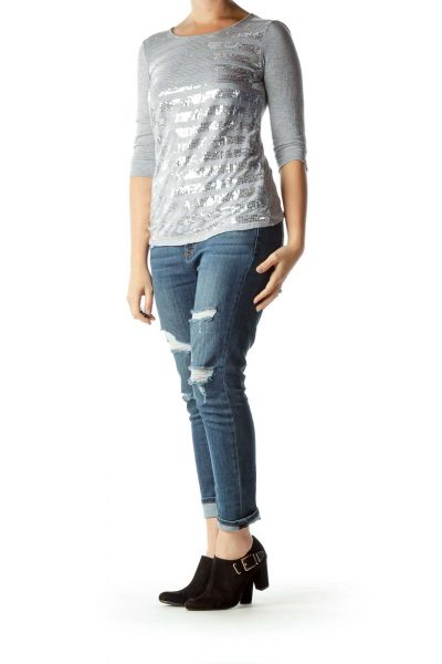 Gray Silver Sequined Top