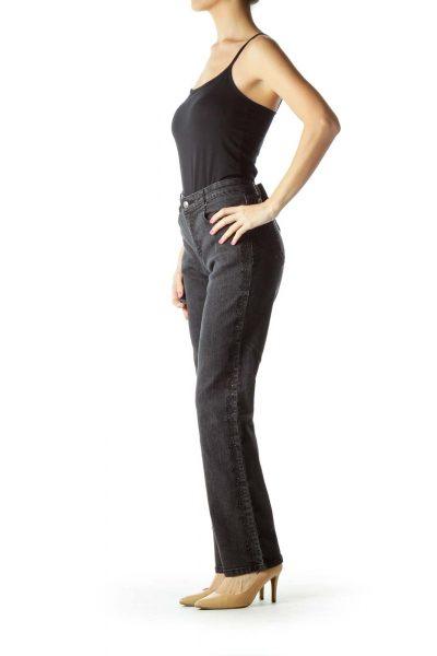 Black Embroidered Studded Skinny Jeans