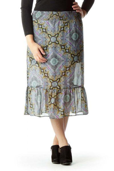 Multicolor Print Scrunch Waist Sheer Skirt