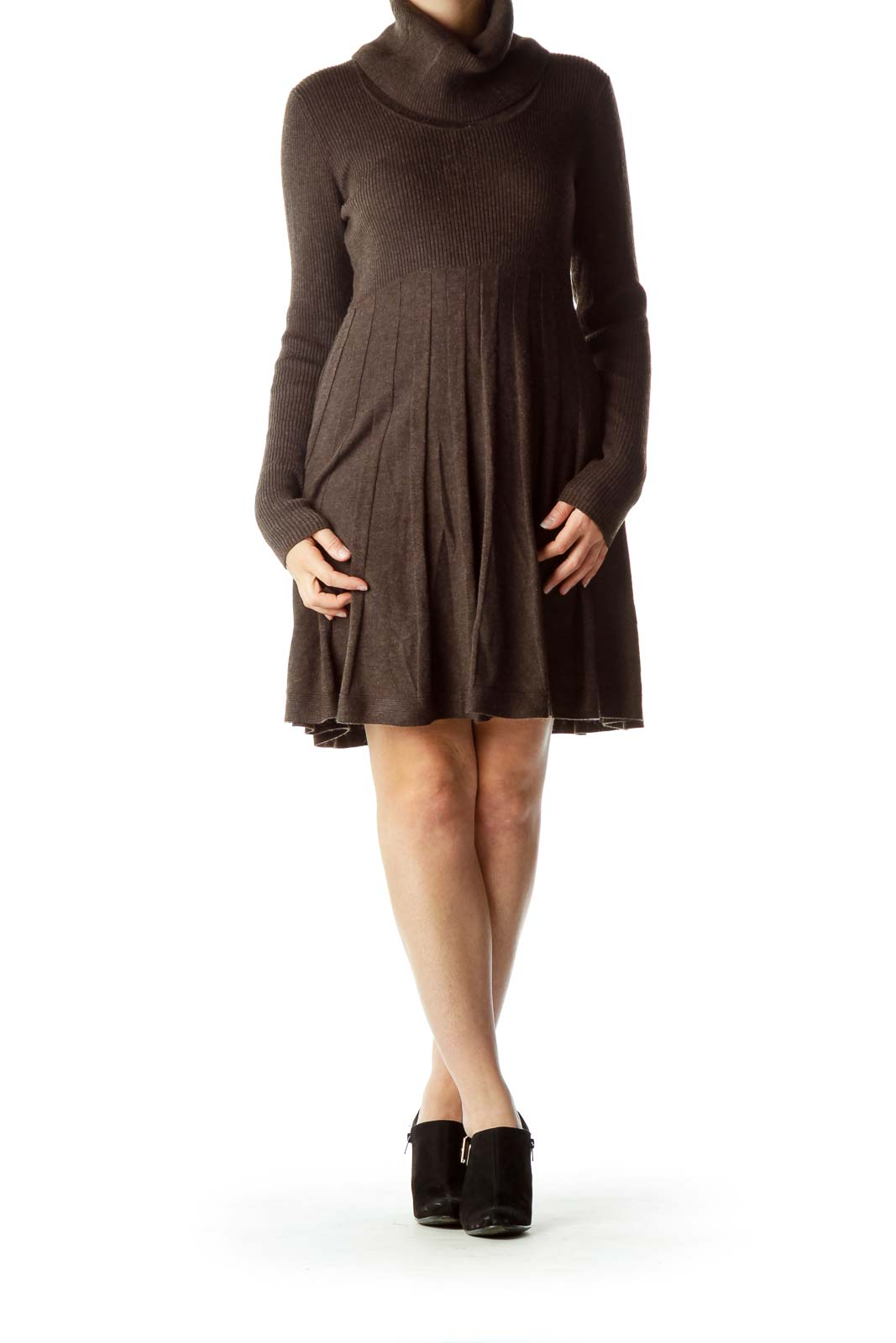 Brown Turtle Neck Knit Dress