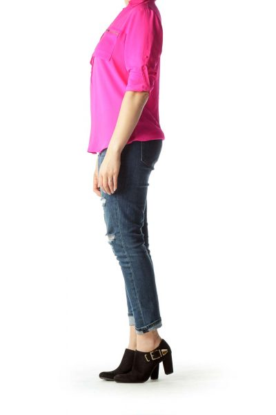 Pink Pocket Detailed Blouse