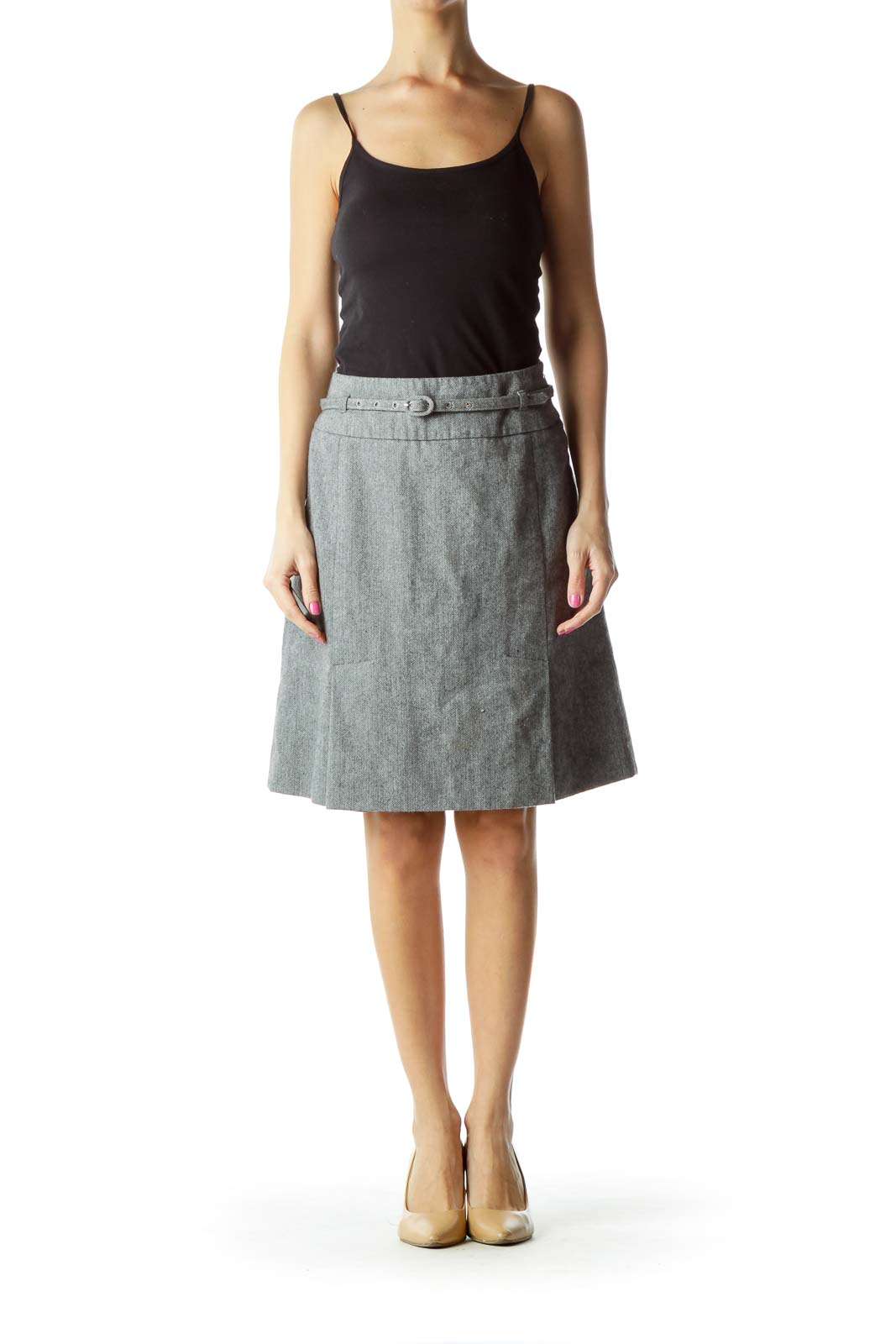 Gray Belted Wool Skirt