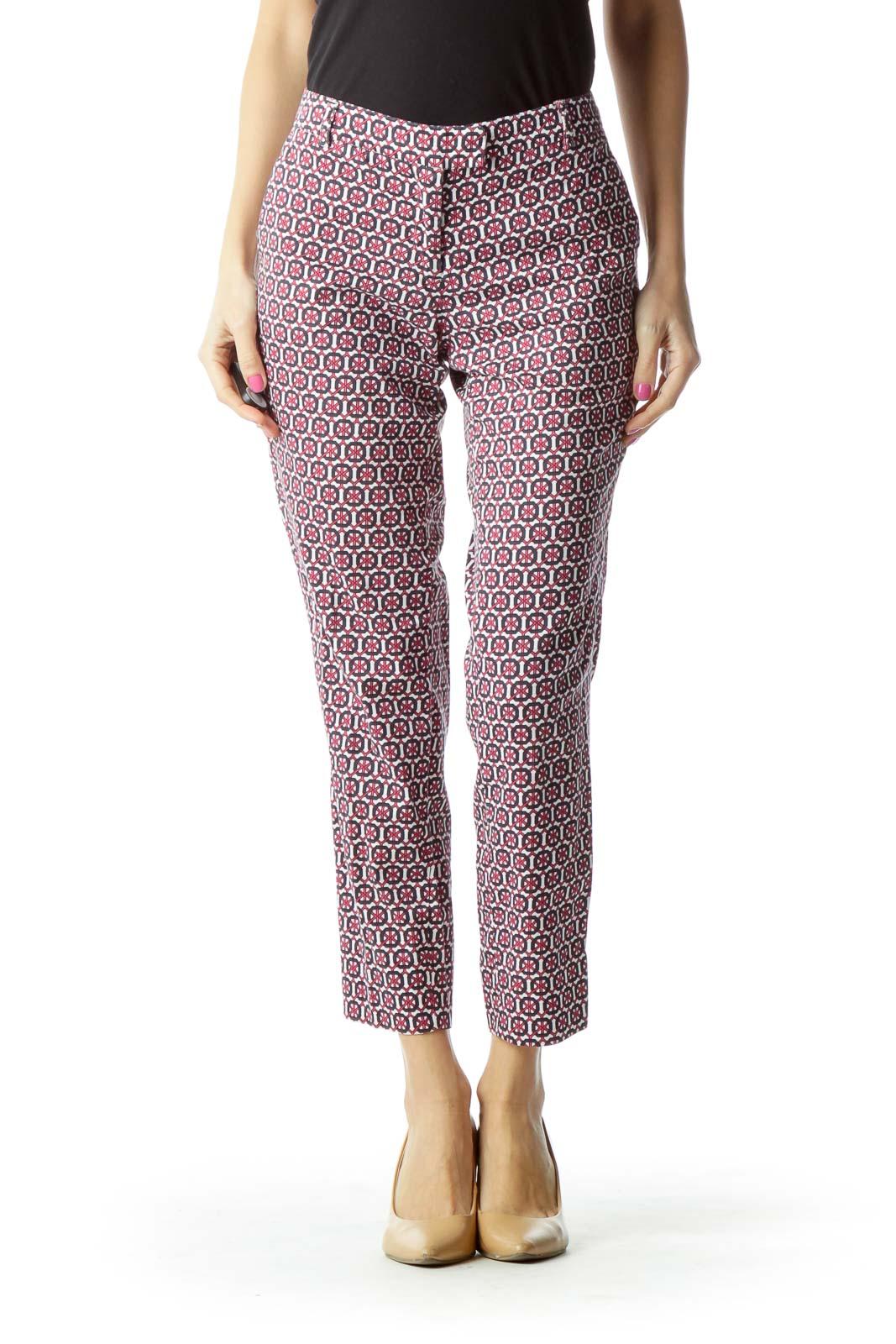 Pink White Geometric Print Pants