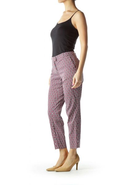 Pink White Geometric Print Pants