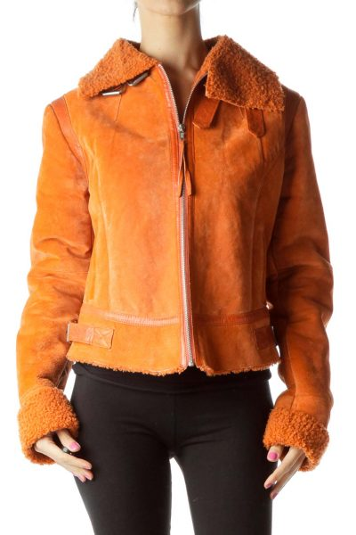 Orange Suede Zippered Coat