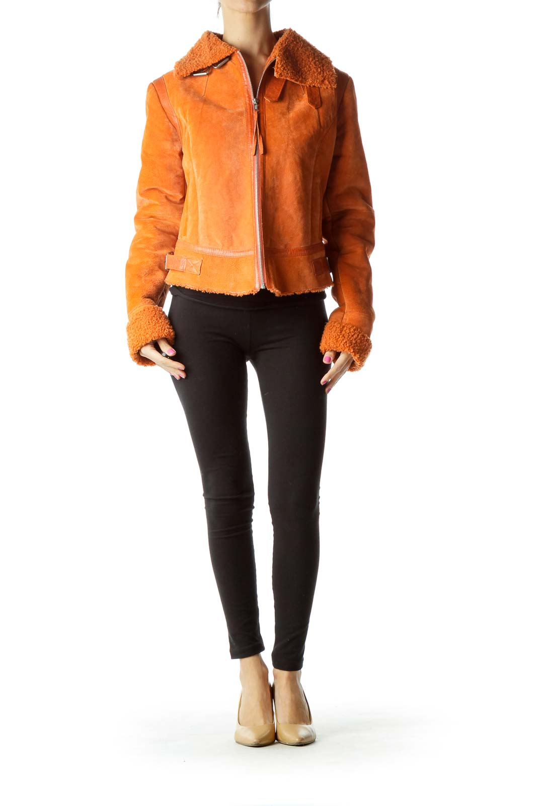 Orange Suede Zippered Coat