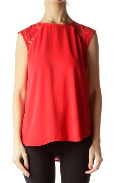 Red Lace Detailed Sleeveless Blouse