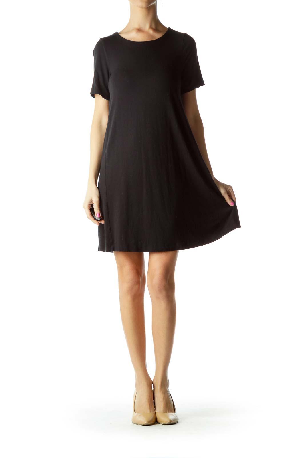 Black Short Sleeve Jersey Dress