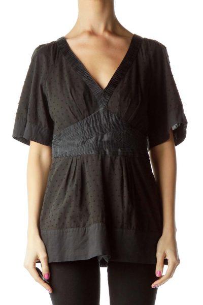 Black V-neck Short Sleeve Polka Dot Blouse