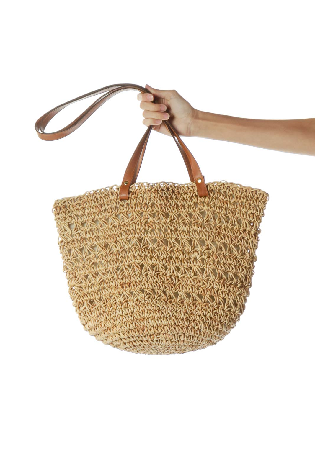 Beige Straw Tote Bag