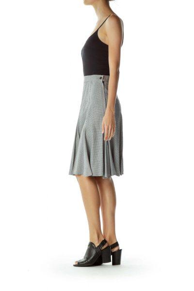 Black White Houndstooth A-Line Skirt