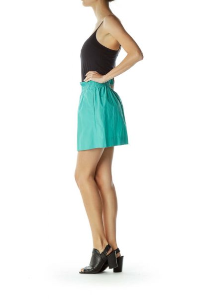 Green Mini Skirt with Scrunched Waist