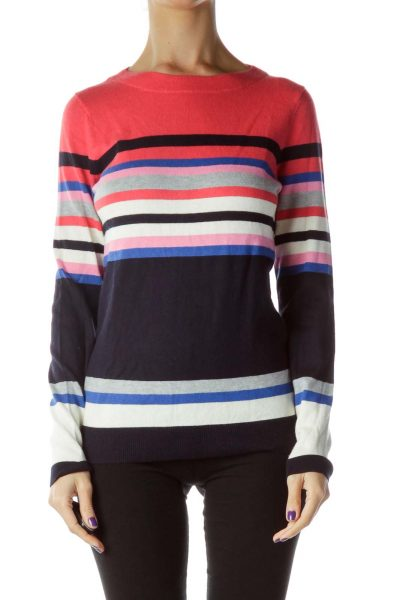 Pink Blue Striped Knit Cashmere Sweater
