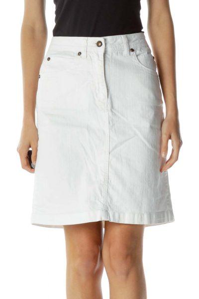 White Denim Pocketed Skirt