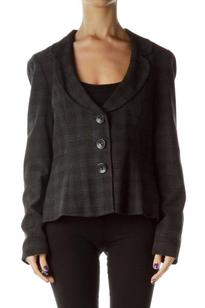 Gray Navy Checkered Suit Jacket