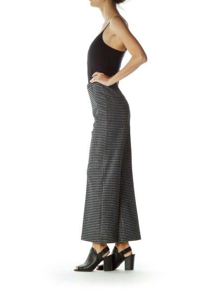 Black Gray Metallic Striped Pant