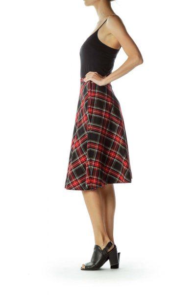 Red Black Plaid A-Line Skirt