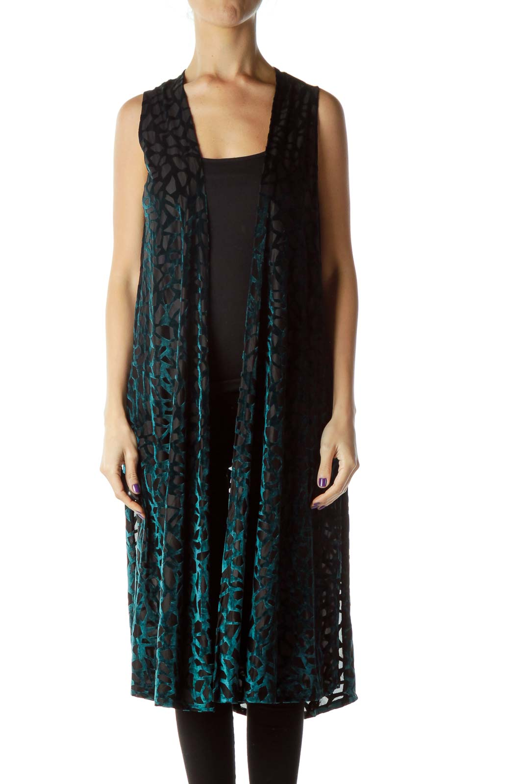 Green Black Geo Print Long Vest
