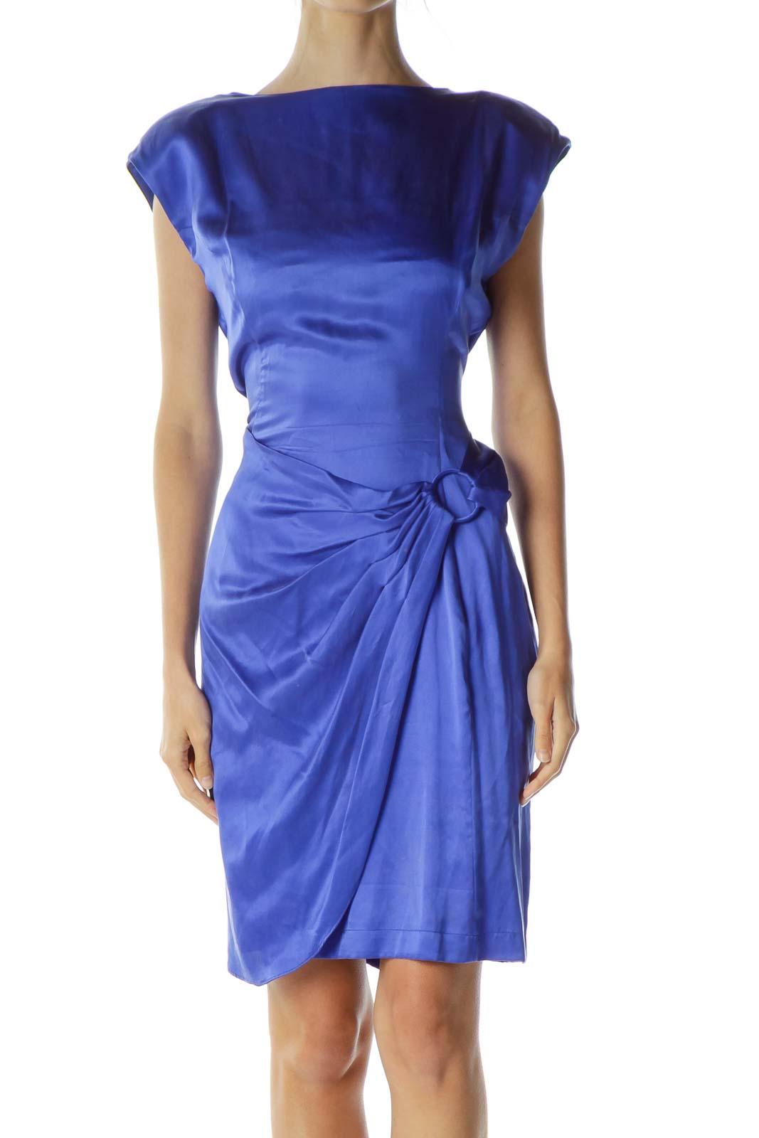 Blue Vintage Wrap Cocktail Dress