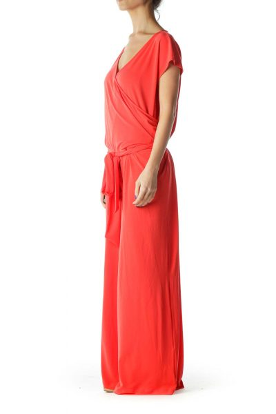 Red Belted Cap Sleeve Jumpsuit