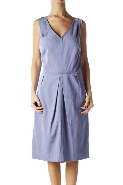 Purple Pleated Sleeveless Dress