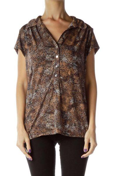 Brown Printed Polo Shirt
