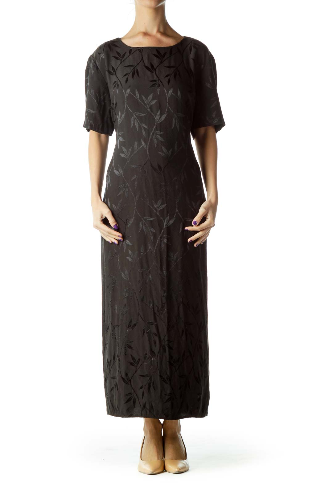 Black Tonal Print Maxi Dress