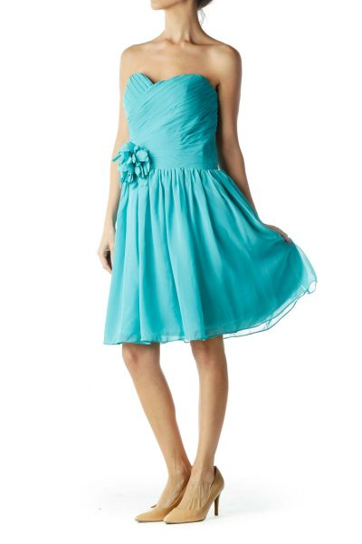 Turquoise Strapless Cocktail Dress with Flower Detail