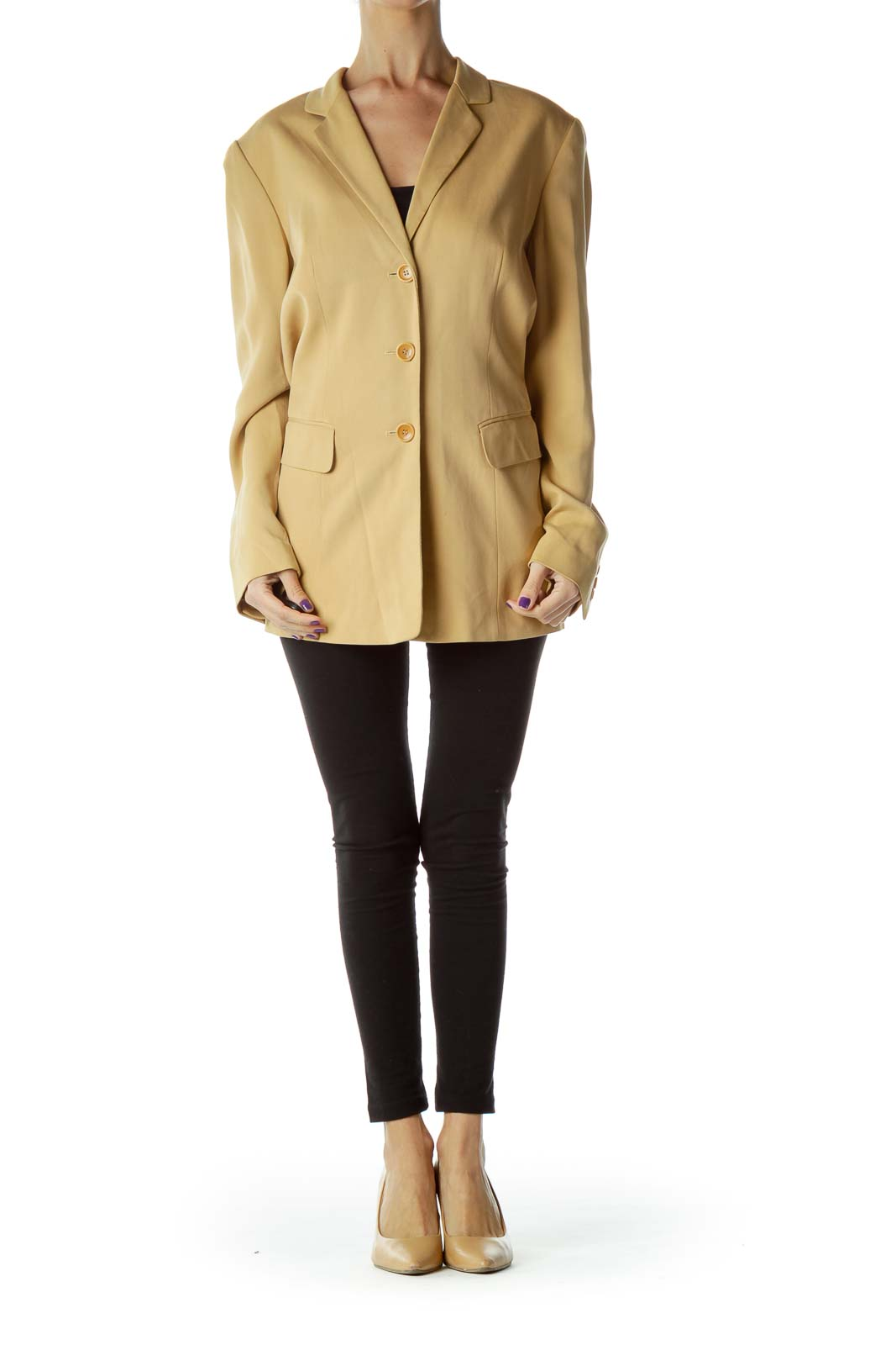 Beige Long Silk Blazer