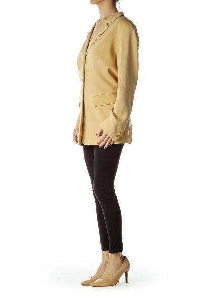 Beige Long Silk Blazer